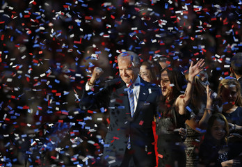 U.S. Vice President Biden pumps his fist while celebrating at an election night victory rally in Chicago