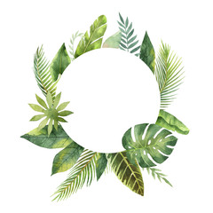 Watercolor round frame tropical leaves and branches isolated on white background.