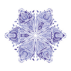 Openwork star in shades of purple. Ethnic graphic element. Big mandala seems like snowflake. It can be used for printing on t-shirts, postcards, or used as ideas for tattoos.