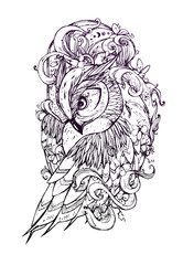 Beautiful illustration with owl. The owl inside ocean waves with sakura flowers. It can be used for printing on t-shirts and idea for tattoo.