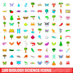 100 biology science icons set, cartoon style