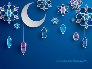Paper graphic of Islamic decoration. Geometry art, Crescent moon and Arabic lantern. Ramadan Kareem - Glorious month of Muslim year.