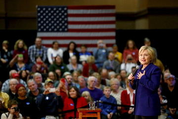 U.S. Democratic presidential candidate Hillary Clinton speaks in Burlington