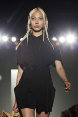 A model presents a creation from the Zero + Maria Cornejo Spring/Summer 2013 collection during New York Fashion Week