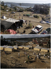 This combination photograph shows the Centinela neighborhood in Constitucion