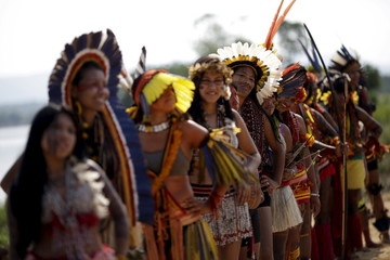 Indigenous women from several tribes pose for photos after participating in a parade of indigenous beauty during the first World Games for Indigenous Peoples in Palmas