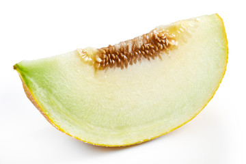 Slice of sweet ripe muskmelon (galia melon) isolated on white background