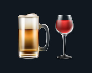Glass of wine and beer