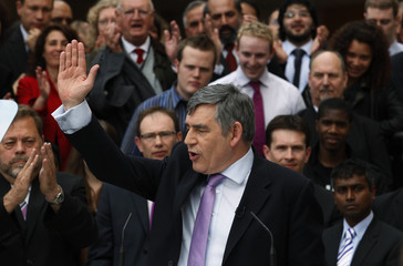 Britain's Prime Minister Brown speaks to students and supporters at Bradford University