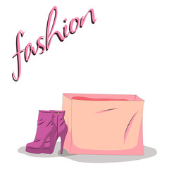 Fashionable woman s shoes and bag pink color and fashion handwritten sign