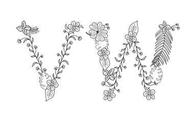 Tropical floral summer pattern hand drawn ornamental font set with palm beach leaves, flower. Letter V,W