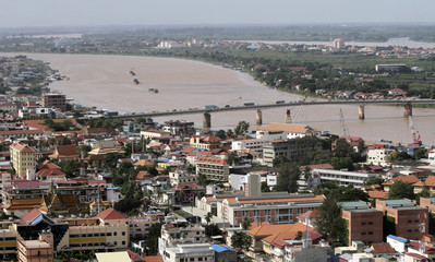 An aerial view of Phnom Penh and Mekong river