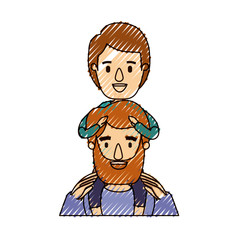 color crayon stripe caricature half body bearded father with boy on his back vector illustration