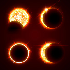 Incomplete and total solar eclipseon on a black background vector illustration set. The Sun in the Shadow of the Moon picture collection
