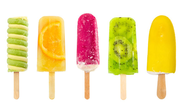 Set of fruit popsicle