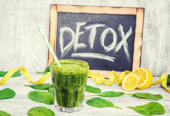 Detox green smoothie. Selective focus.