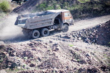 Truck at the ore and crushed stone plant