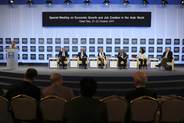 Palestinian Prime Minister Salam Fayyad, and Former U.S. Secretary of State Madeleine Albright participate during the World Economic Forum (WEF) annual meeting at the King Hussein Dead Sea Convention Centre
