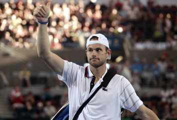 Roddick of the U.S. acknowledges the crowd after defeating Stepanek of the Czech Republic during the final of the Brisbane International tennis tournament