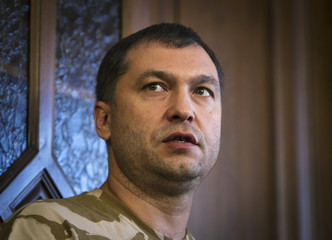 Bolotov speaks during a news briefing in a regional administration building in the eastern Ukrainian city of Luhansk