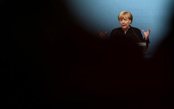 German Chancellor Merkel holds speech at opening ceremony of Lindau Nobel Laureate Meetings on Economic Sciences in Lindau