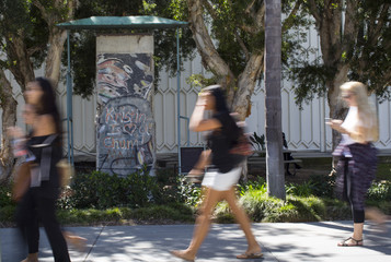 A segment of the Berlin Wall is seen on the main campus of Loyola Marymount University in Los Angeles, California
