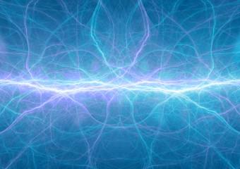 Blue plasma, abstract lightning background