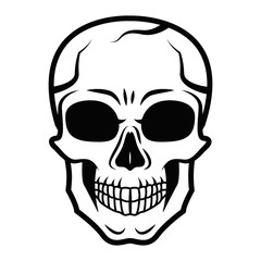 Line art black skull isolated on white background. Outline style. Tatoo. Modern print. Coloring for adults.