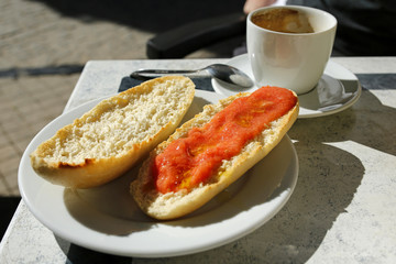 spanish breakfast- coffee and toast with tomatoes and olive oil