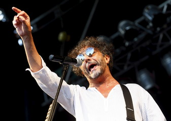 Argentine singer-songwriter Fito Paez performs at an anti-government festival in a public park in Buenos Aires