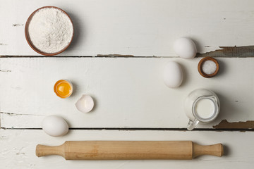 Bakery. Vintage style. Ingredients for baking. Top view, closeup.