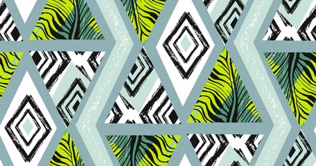 Hand drawn vector abstract freehand textured seamless tropical pattern collage with zebra motif,organic textures,triangles isolated on black background.Wedding,save the date,birthday,fashion decor