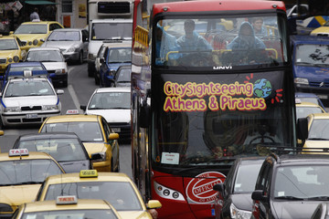 Vehicles jam a main street during a public transport strike in Athens