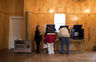 Peeples precinct clerk Craven helps voters during voting in the U.S. presidential election at Welch Creek Civic Center in Walterboro