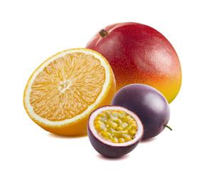 Whole mango, orange, passion fruit isolated