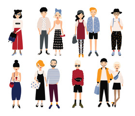 Set of stylish young people and love couples. Different guys and girls in fashionable clothes, accessories. Colorful vector illustration in cartoon style.