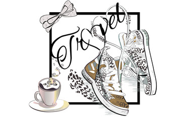 Travel background with a cup of coffee and a pair of sneakers with laces in the form of heart. Hand drawn vector illustration.