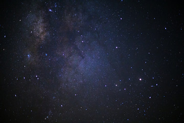 Close up milky way galaxy at phitsanulok in thailand. Long exposure photograph.with grain