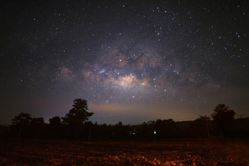 Milky way galaxy in Phitsanulok Thailand, Long exposure photograph.with grain