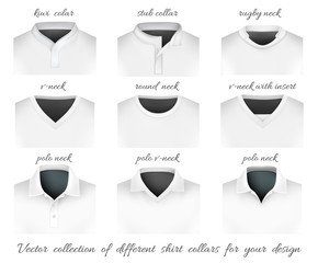 Different collars for your design. Vector illustration.