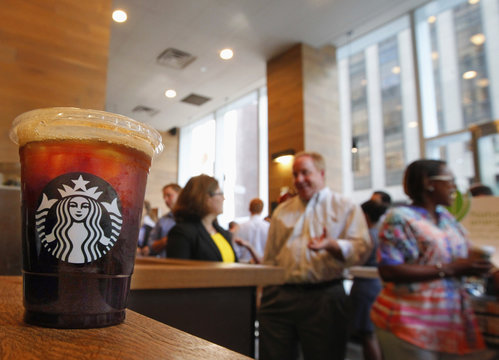 Iced coffee sits on a counter in a Starbucks outlet in New York