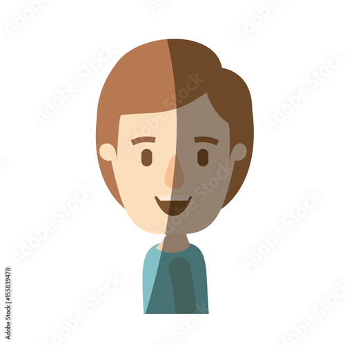 Light Color Shading Caricature Side View Half Body Boy With