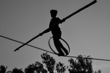Young Boy Tightrope walking, Slacklining, Funambulism, Rope Balancing