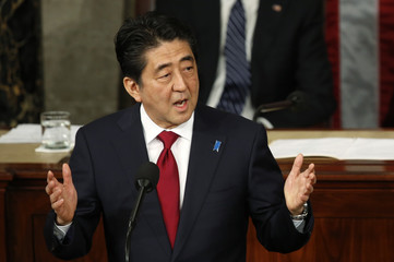 Japanese Prime Minister Abe addresses a joint meeting of U.S. Congress on Capitol Hill in Washington