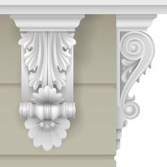 Architectural facade classic baroque bracket for the facade of the building. Vector graphics.