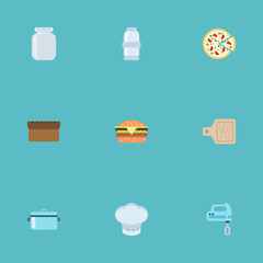Flat Fast Food, Casserole, Loaf And Other Vector Elements. Set Of Food Flat Symbols Also Includes Blender, Fast, Board Objects.