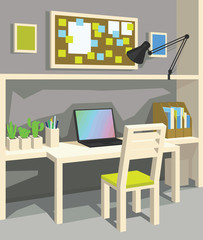 Interior of workplace in cartoon style. Perspective. Home Office in Grey Color.