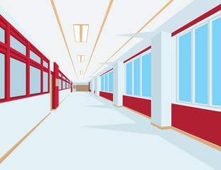 Interior of school hall in flat style. Vector illustration of university or college corridor with windows.