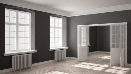 Empty room with parquet floor, big windows, doors and radiators, white and gray interior design