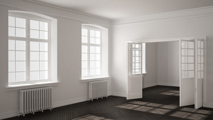 Empty room with parquet floor, big windows, doors and radiators, white and gray interior design